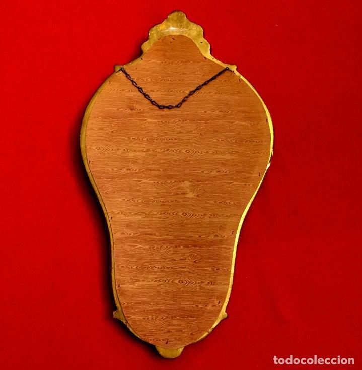 Antigüedades: ESPEJO CORNUCOPIA DE ESTUCO, MADERA Y PAN DE ORO - 51 X 29 CM - Foto 4 - 155630254