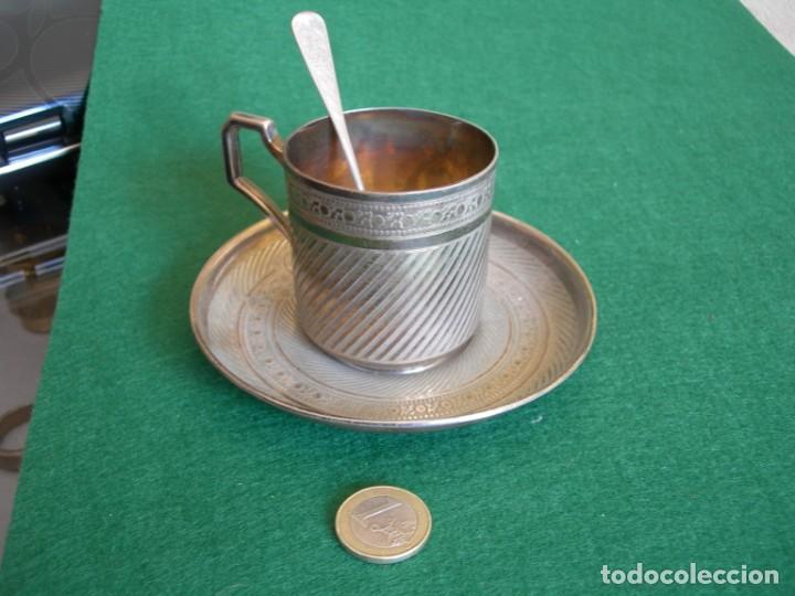 Antigüedades: Taza de plata con plato y cuchara - Foto 2 - 155630942