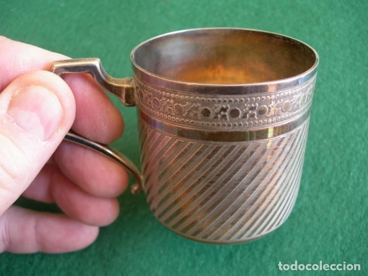 Antigüedades: Taza de plata con plato y cuchara - Foto 6 - 155630942