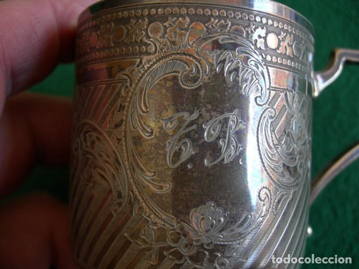 Antigüedades: Taza de plata con plato y cuchara - Foto 8 - 155630942