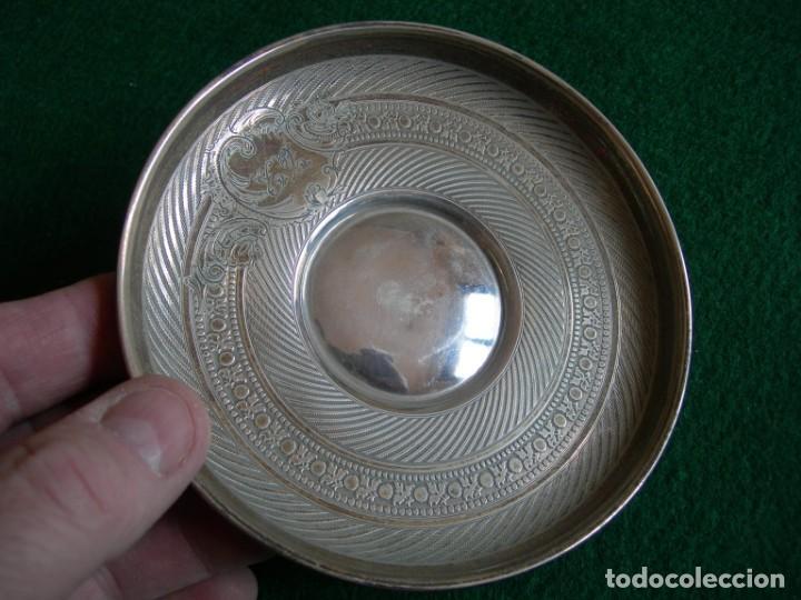 Antigüedades: Taza de plata con plato y cuchara - Foto 12 - 155630942