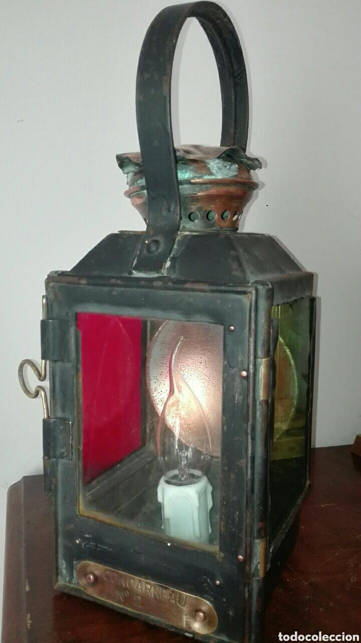 ANTIGUO FAROL DE TREN, DE LA ESTACIÓN FRANCESA DE CONCARNEAU, ESTÁ ELECTRIFICADO, FUNCIONANDO , (Antiquitäten - Beleuchtung - Antike Laternen)