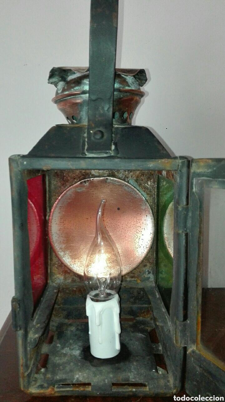 Antiquitäten: ANTIGUO FAROL DE TREN, DE LA ESTACIÓN FRANCESA DE CONCARNEAU, ESTÁ ELECTRIFICADO, FUNCIONANDO , - Foto 3 - 155641386