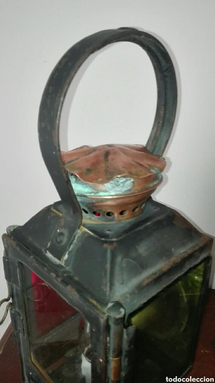 Antiquitäten: ANTIGUO FAROL DE TREN, DE LA ESTACIÓN FRANCESA DE CONCARNEAU, ESTÁ ELECTRIFICADO, FUNCIONANDO , - Foto 10 - 155641386