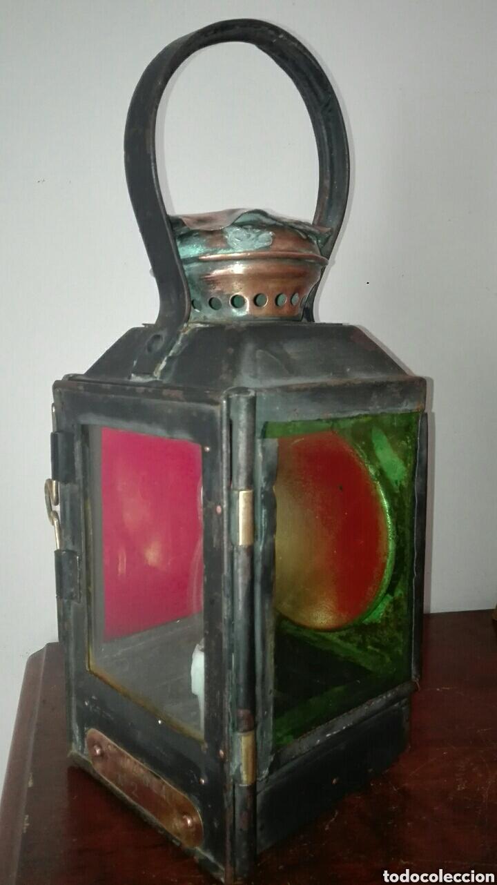 Antiquitäten: ANTIGUO FAROL DE TREN, DE LA ESTACIÓN FRANCESA DE CONCARNEAU, ESTÁ ELECTRIFICADO, FUNCIONANDO , - Foto 2 - 155641386