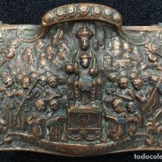 Antigüedades: CAJA METÁLICA DE LA VIRGEN MONTSERRAT. Lote 155643842