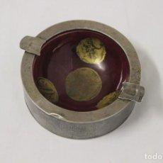 Antigüedades: CENICERO EN PLATA DE LEY Y ESMALTE ROJO.. Lote 155745666
