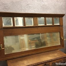 Antigüedades: PERCHERO DE PARED NOGAL CON ESPEJOS BISELADOS. Lote 155747322