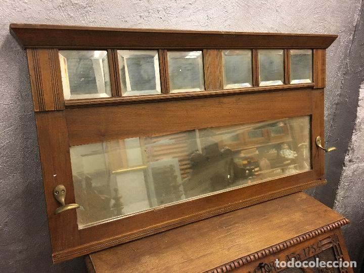 Antigüedades: Perchero de pared nogal con espejos biselados - Foto 2 - 155747322