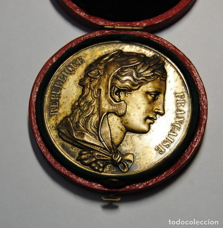 Antigüedades: ESPECTACULAR MEDALLA DE PLATA MACIZA DEL SENAT DE FRANCIA DEL AÑO 1876.PIEZA DE LUJO. - Foto 3 - 155749262