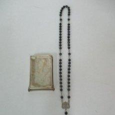 Antigüedades: ANTIGUO ROSARIO - PLATA DE LEY - CUENTAS EN AZABACHE - CON CAJA ORIGINAL - S. XIX. Lote 155763302