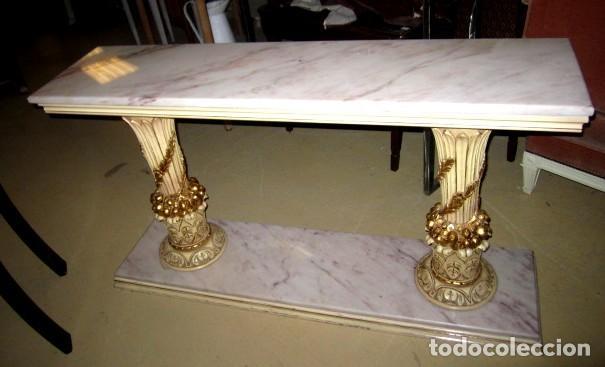 CONSOLA VINTAGE MADERA TALLADA Y POLICROMADA (Antigüedades - Muebles Antiguos - Consolas Antiguas)