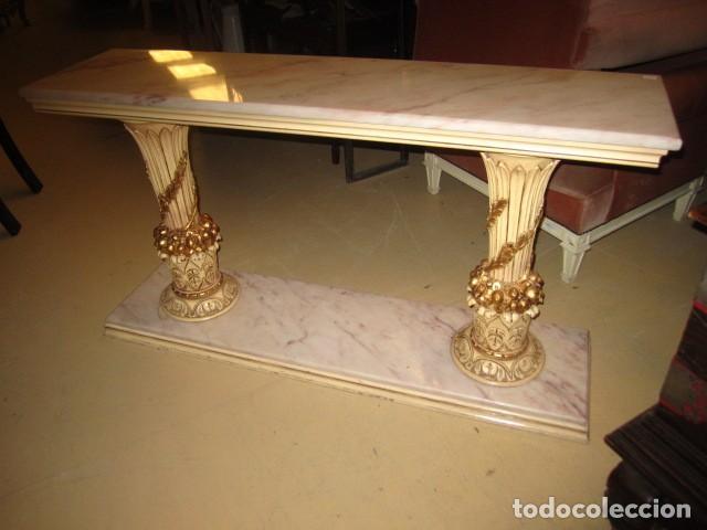 Antigüedades: Consola Vintage madera tallada y policromada - Foto 5 - 155764470