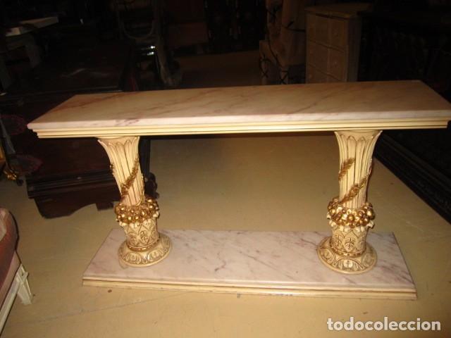 Antigüedades: Consola Vintage madera tallada y policromada - Foto 6 - 155764470