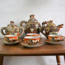 Antigüedades: JUEGO DE CAFÉ Y TÉ SATSUMA * 4 SERVICIOS * PORCELANA CLARA DE HUEVO JAPONESA * JAPÓN * DRAGÓN. Lote 155768734