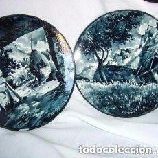 Antigüedades: DOS PLATOS DE CERÁMICA PINTADO A MANO FIRMADO F. TARREGA LLEIDA. Lote 155773266