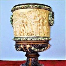 Antigüedades: MACETERO. PORCELANA ESMALTADA. MONTADO EN BRONCE. ALEMANIA (?) CIRCA 1900. Lote 155782654