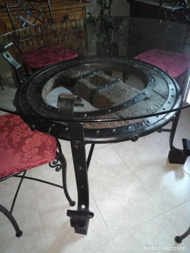 Antigüedades: mesa rueda de carro - Foto 3 - 155785130