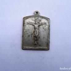 Antigüedades: MEDALLA RELIGIOSA ANTIGUA SANTO CRISTO DE LA AGONIA DE LIMPIAS ALUMINIO. Lote 155785442