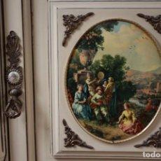 Antigüedades: APARADOR CON ILUSTRACIONES ROMANTICAS. Lote 155791882