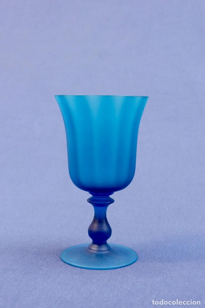 Antigüedades: Copa vidrio azul - Foto 5 - 155795610