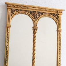 Antigüedades: PRECIOSO ESPEJO PORTICO, EN PAN DE ORO Y MADERA 68X57 CM. Lote 155808918