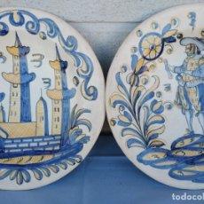 Antigüedades: TALAVERA. DOS PLATOS MITICOS ALFARILLO DE LA MENORA. PRIMERA EPOCA. LEA ARTICULO. Lote 155824174