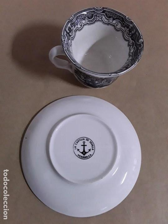 Antigüedades: Juego de 2 platos y tazas,pickman cartuja sevilla - Foto 3 - 155842170