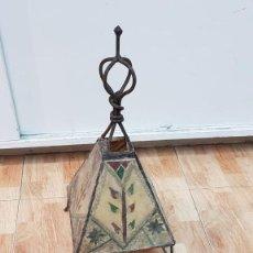Antigüedades: LAMPARA ANTIGUA EN PIEL NATURAL AUTENTICA. Lote 155843714