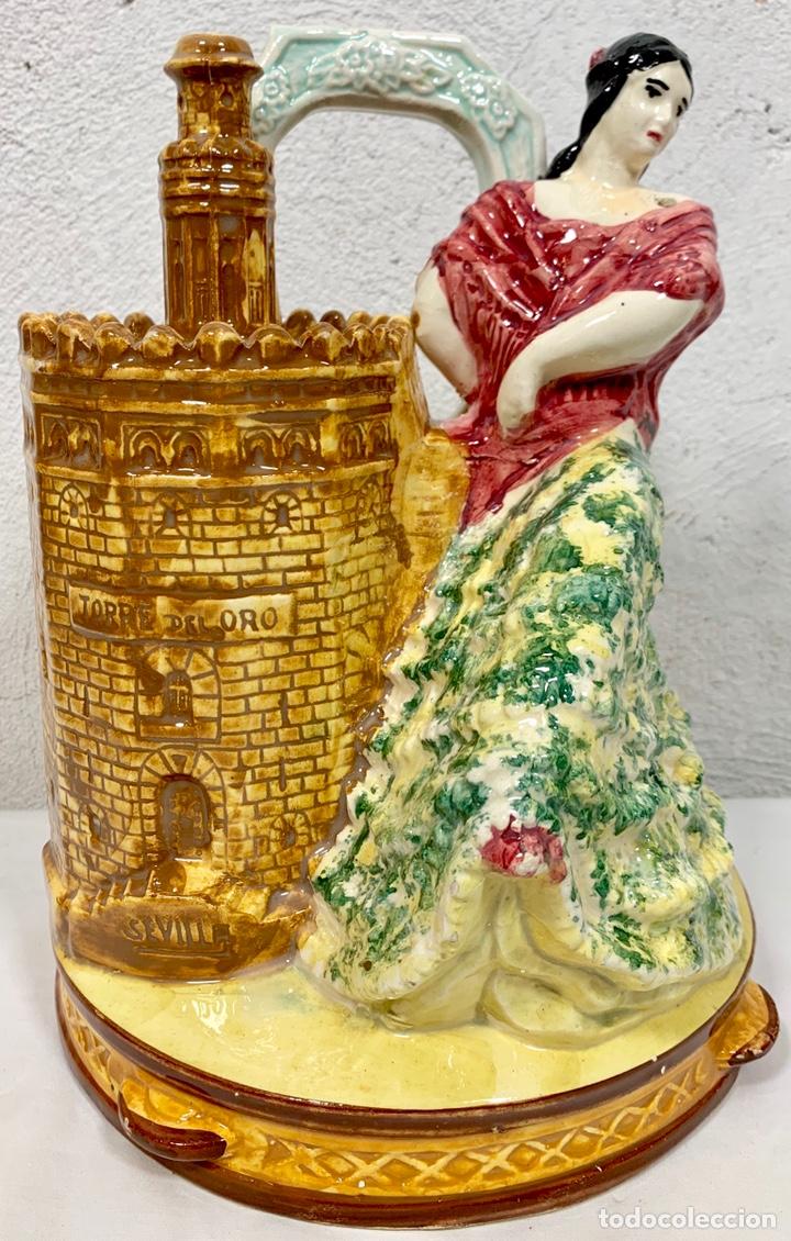 ANTIGUO BOTIJO EN CERÁMICA DE SEVILLA TORRE DEL ORO FIRMADO M.P. (POSIBLEMENTE BIAR O MANISES) (Antigüedades - Porcelanas y Cerámicas - Otras)