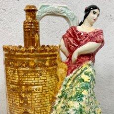 Antigüedades: ANTIGUO BOTIJO EN CERÁMICA DE SEVILLA TORRE DEL ORO FIRMADO M.P. (POSIBLEMENTE BIAR O MANISES). Lote 155851346