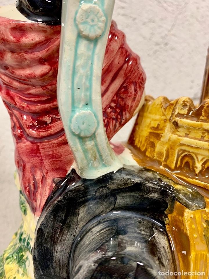 Antigüedades: Antiguo botijo en cerámica de Sevilla Torre del Oro firmado M.P. (posiblemente Biar o Manises) - Foto 8 - 155851346