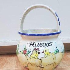 Antigüedades: PRECIOSO PORTA HUEVOS DE PINTADO A MANO.. Lote 155854150