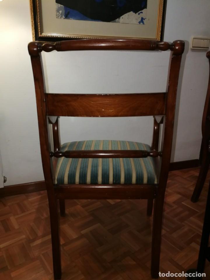 Antigüedades: 2 sillas antiguas de brazos madera maciza y marquetería - Foto 3 - 155854406