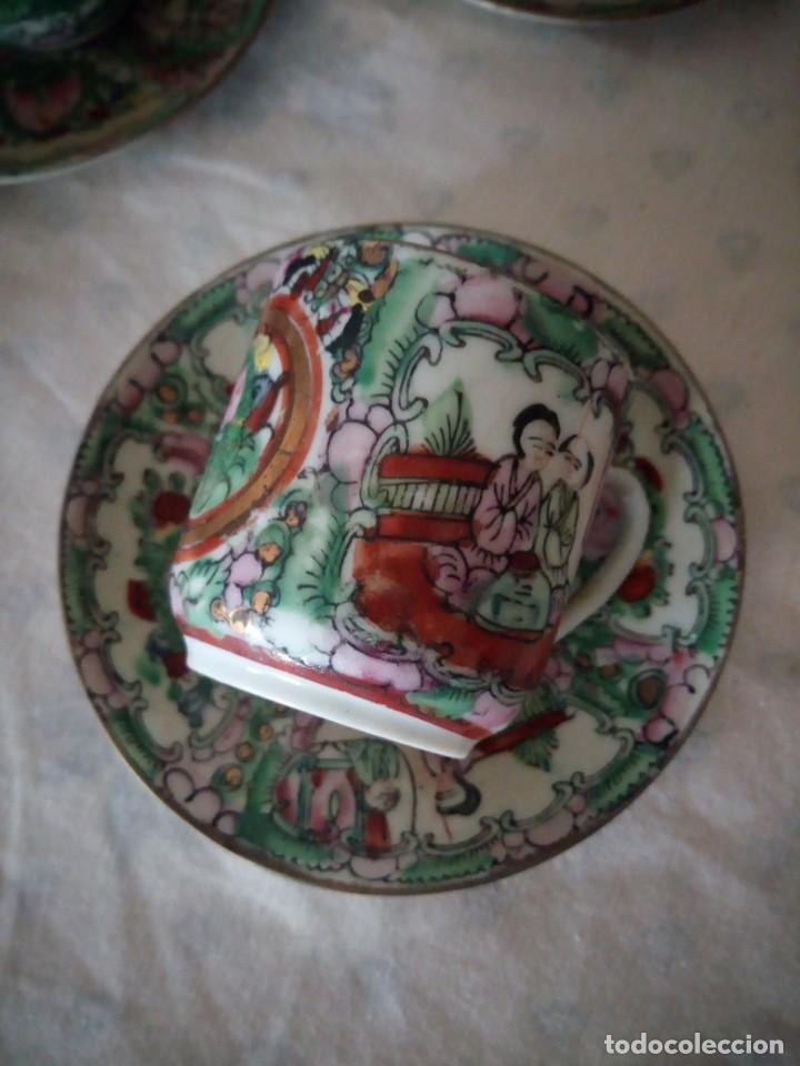 Antigüedades: Antiguo juego de porcelana japonesa ,pintado a mano sellado y con imagen de geisha visible a trasluz - Foto 6 - 155859694