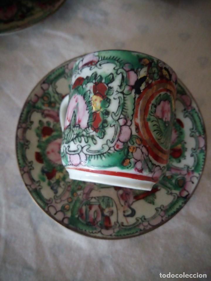 Antigüedades: Antiguo juego de porcelana japonesa ,pintado a mano sellado y con imagen de geisha visible a trasluz - Foto 7 - 155859694