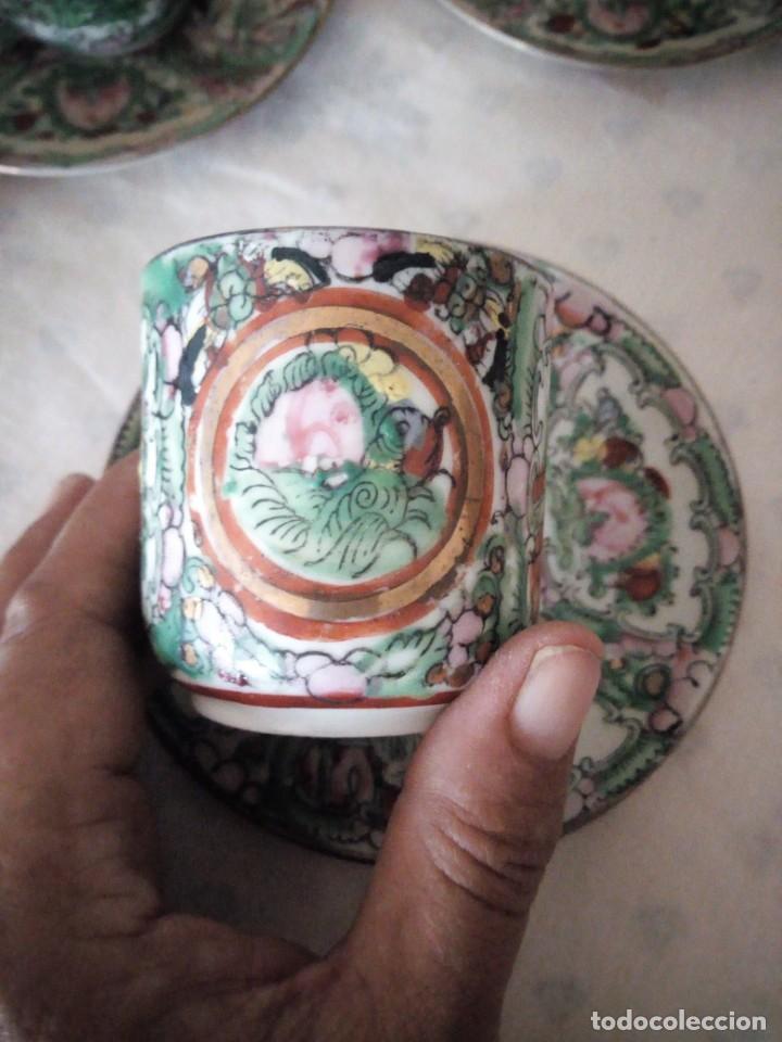 Antigüedades: Antiguo juego de porcelana japonesa ,pintado a mano sellado y con imagen de geisha visible a trasluz - Foto 8 - 155859694