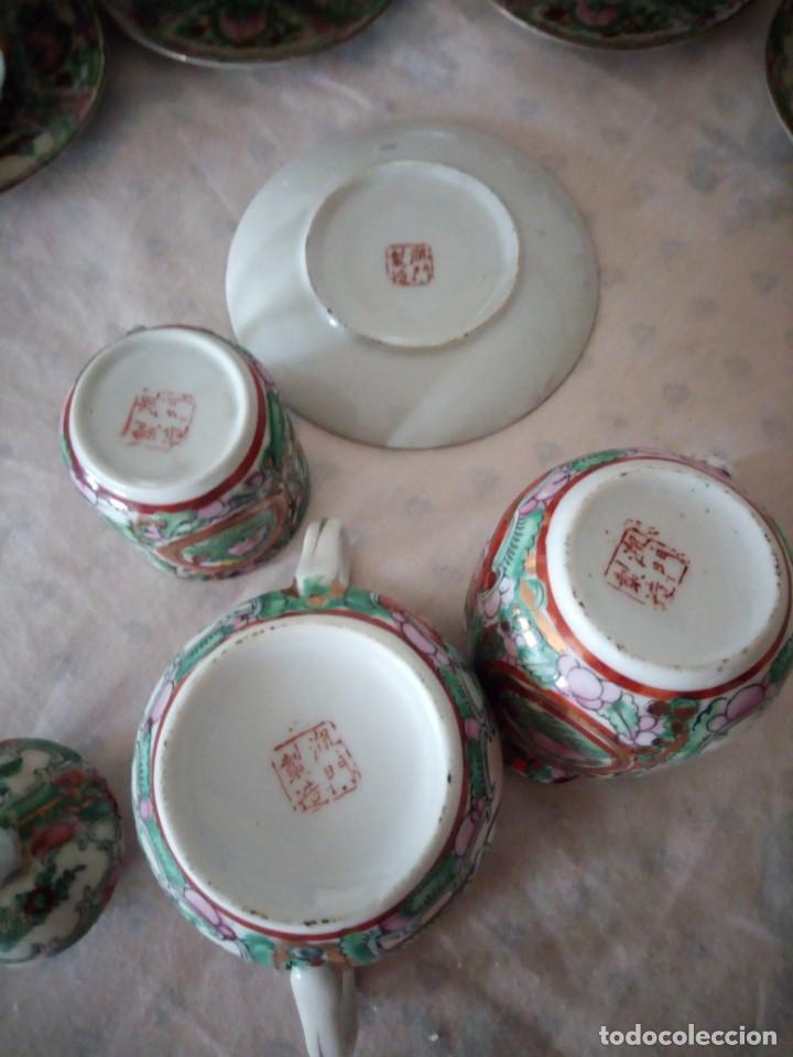 Antigüedades: Antiguo juego de porcelana japonesa ,pintado a mano sellado y con imagen de geisha visible a trasluz - Foto 12 - 155859694