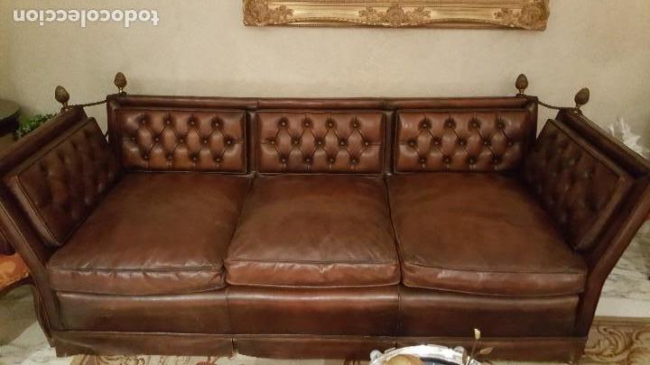 Antigüedades: sofá de cuero - Foto 3 - 122228791