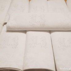 Antigüedades: 10 SERVILLETAS DAMASCO / DAMASCADO DE LINO S.XIX INICIALES BORDADAS A MANO MB. Lote 155877474