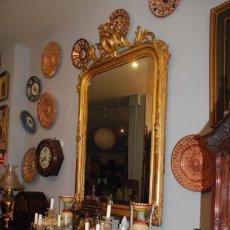 Antigüedades: ESPECTACULAR CONSOLA ISABELINA DE MADERA EN ORO FINO. Lote 155915294