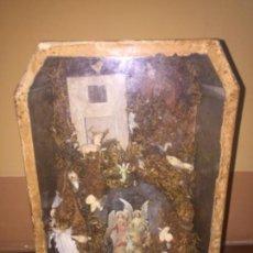 Antigüedades: VITRINA NACIMIENTO CARTON Y FIGURAS SIGLO XVL O XVLL. Lote 155967350