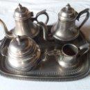 Antigüedades: PRECIOSO JUEGO DE TÉ Y CAFÉ EN ALPACA. Lote 156001026