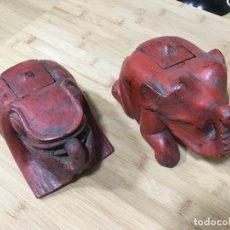 Antigüedades: CAJA DE MEDICINAS. BIRMANIA. MYANMAR. SIGLO XVIII. MADERA MACIZA. LACADA. DOS UNIDADES.ELEFANTE.RANA. Lote 156113546