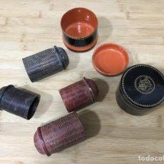 Antigüedades: LOTE.CAJAS. FIBRA VEGETAL.BIRMANIA. MYANMAR. SIGLO XVIII. ORIGINALES. LACADAS. VER FOTOS. UNICO. Lote 156118818