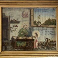 Antigüedades: BORDADO RELIGIOSO SOBRE SEDA - TRABAJO CONVENTUAL DEL S. XIX. Lote 156198898