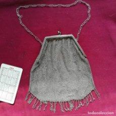 Antigüedades: ANTIGUO BOLSO O MONEDERO PLATEADO. BUEN TAMAÑO. Lote 156217938
