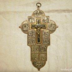 Antigüedades: ANTIGUO Y GRAN CRUCUFIJO DE MADERA Y METALES. CON VIACRUCIS. Lote 156288418