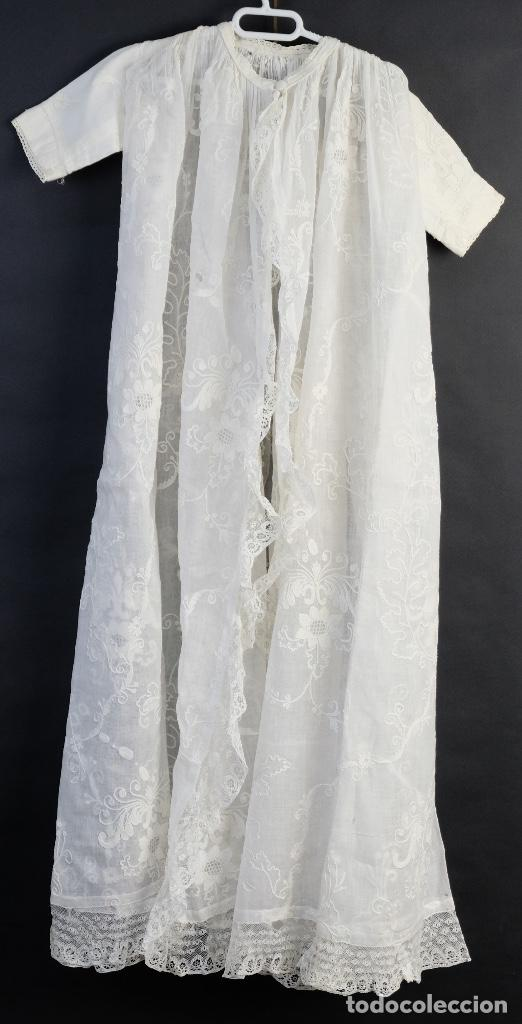 Antigüedades: Vestido de bautizo bordado a mano principios siglo XX - Foto 14 - 156290770