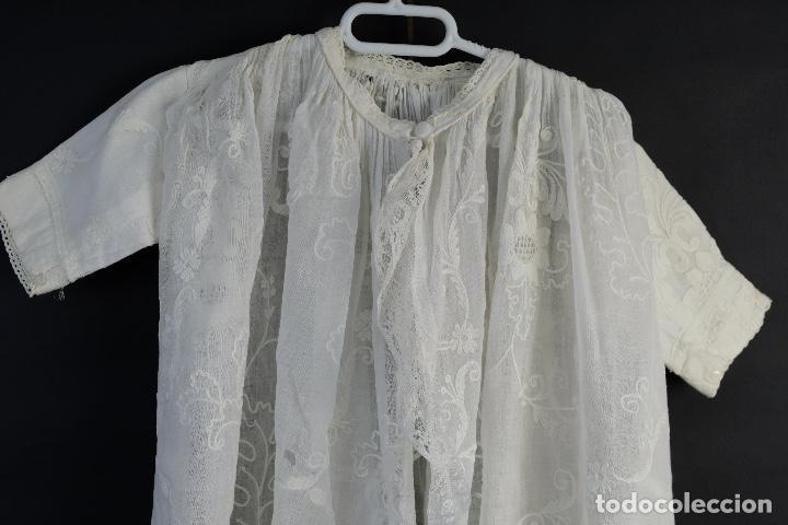 Antigüedades: Vestido de bautizo bordado a mano principios siglo XX - Foto 15 - 156290770